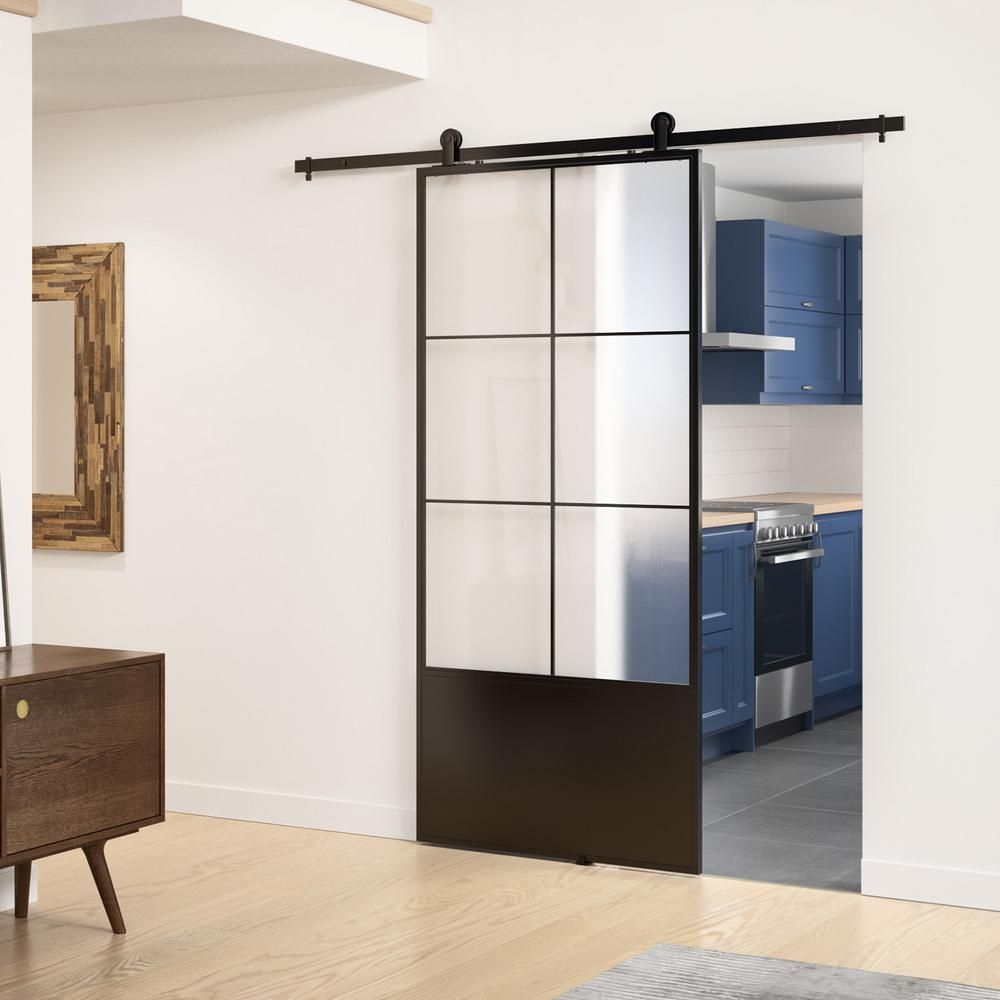 Colonial Elegance 37in X84in X3 In Broadway Epoxy Coated Steel Frame W Frosted Tempered Glass Barn Door Interior Sliding Door Hardware Kit Kmctbwf 37bl The Ho Glass Barn Doors Interior Glass Barn Doors Stylish Doors