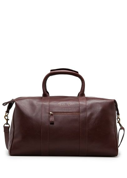 H E By Mango Leather Weekend Bag