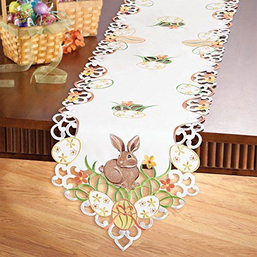 Spring Easter Bunnies Eggs Embroidery Table runner Tablecloth Doily White Brown