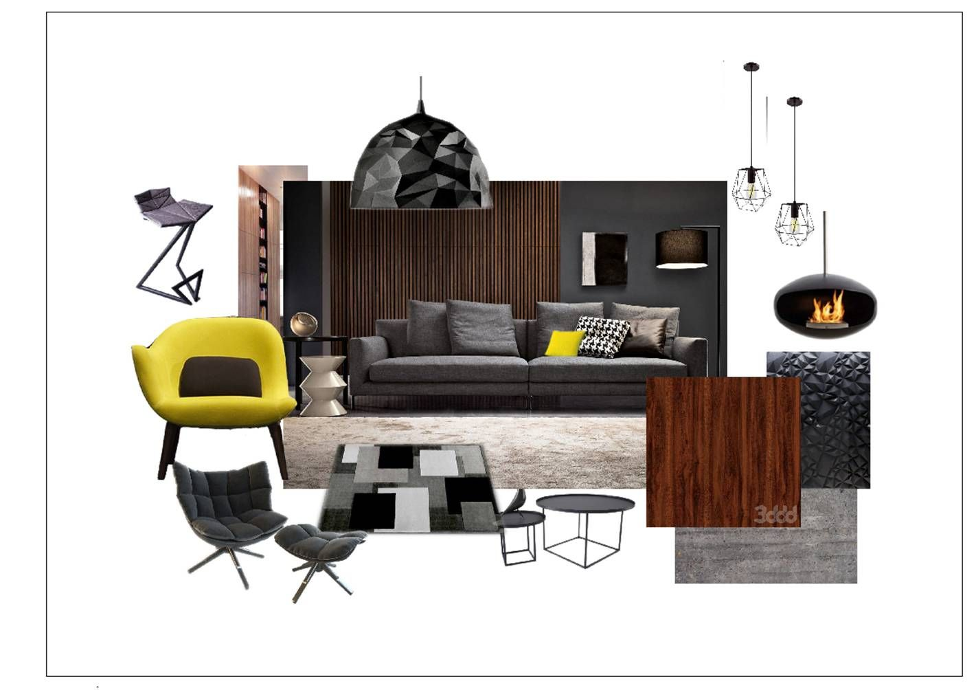 Contemporary Style Livingroom Collage By Victoria Seminozhenko Interior Design Course Student In European