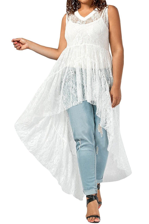 Plus Size Women S Lace Floral See Through High Low Hem Flowy Maxi Dress Top White Cm184t4u509 Fashion Plus Size Tops Flowy Maxi Dress [ 1500 x 1000 Pixel ]