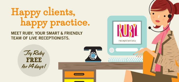 Ruby Receptionists, design, illustrations, and logo  Graphic