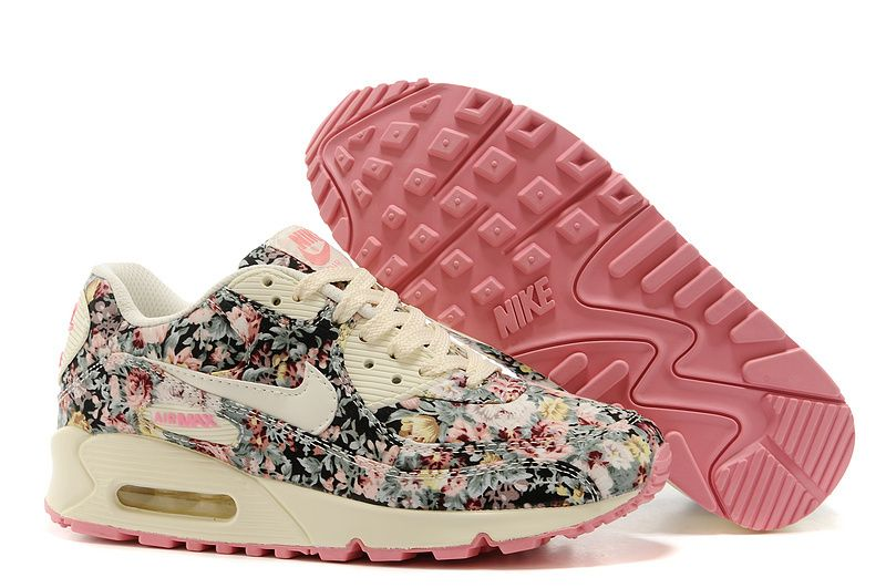 new style 14cbe bf5c7 Nike Air Max 90 Floral Print Womens Rose Training Shoes