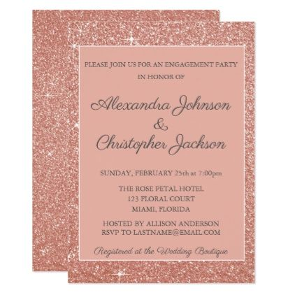 Pink rose gold glitter engagement party card rose gold glitter pink rose gold glitter engagement party card wedding invitations cards custom invitation card design marriage stopboris Choice Image