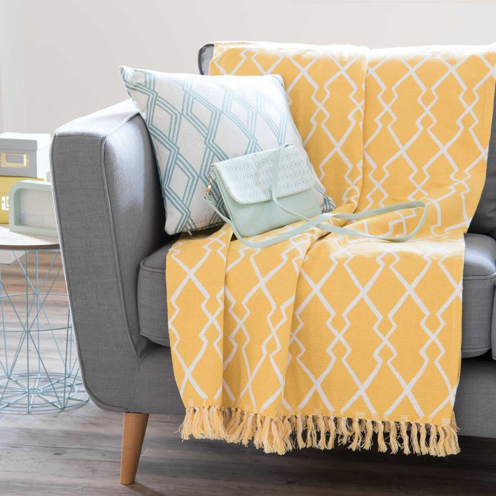 Refresh Your Sofa Sete Yellow Cotton Throw With Jacquard Motifs Maisons Du Monde