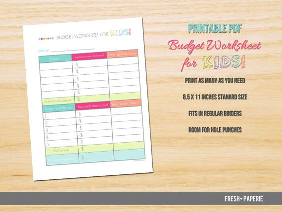 Teaching Kids About Money Management Kids Budget Worksheet