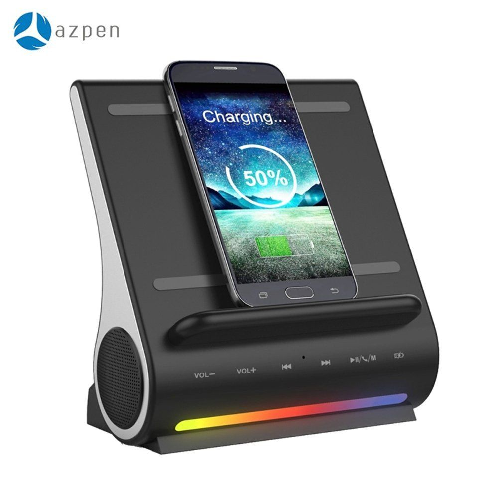 Azpen Dockall D100 Docking Station Led Wireless Bluetooth Speaker With Qi Charging Pad For Android Phones Ipad You Can Find Out More Details At