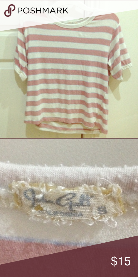 Sammy T-Shirt classic pink and white Sammy shirt designed by John Galt for Brandy Melville before he decided to make everything one size. old but in great condition! Brandy Melville Tops Tees - Short Sleeve