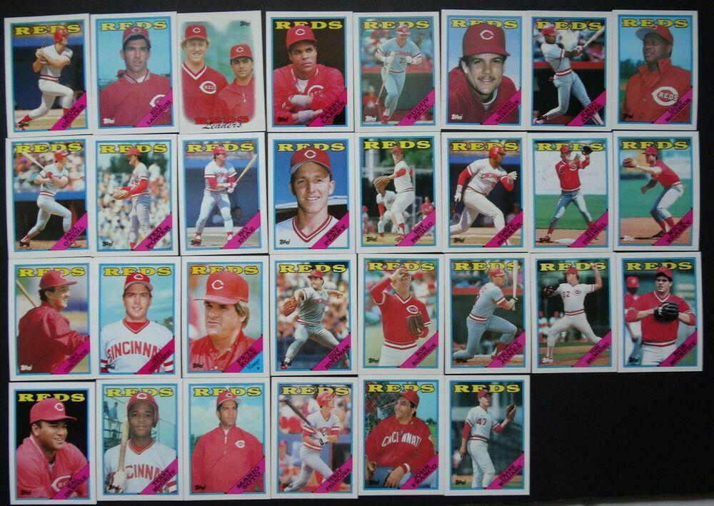 1988 topps cincinnati reds team set of 36 baseball cards