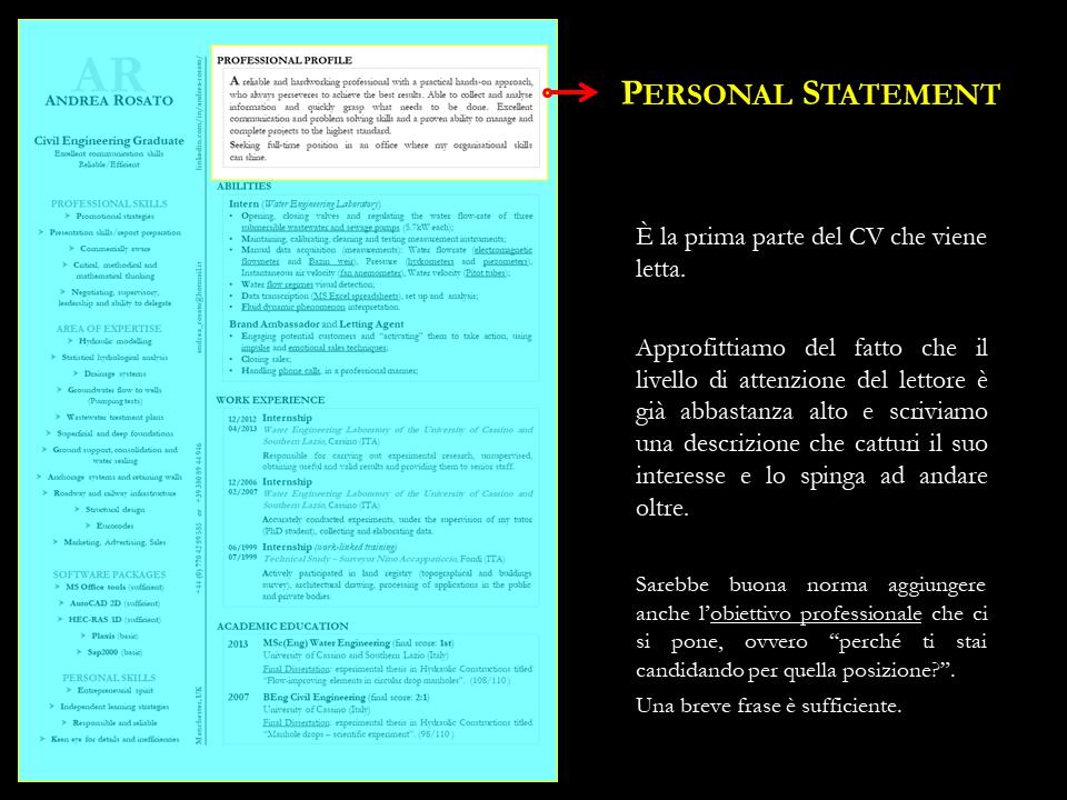 Professional statement CVRESUME Personal branding