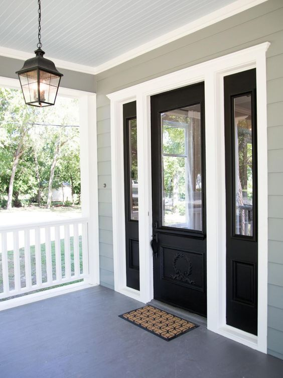 BLACK DOOR AND SIDE LIGHTS | 27 Cool Front Door Designs With Sidelights    Shelterness