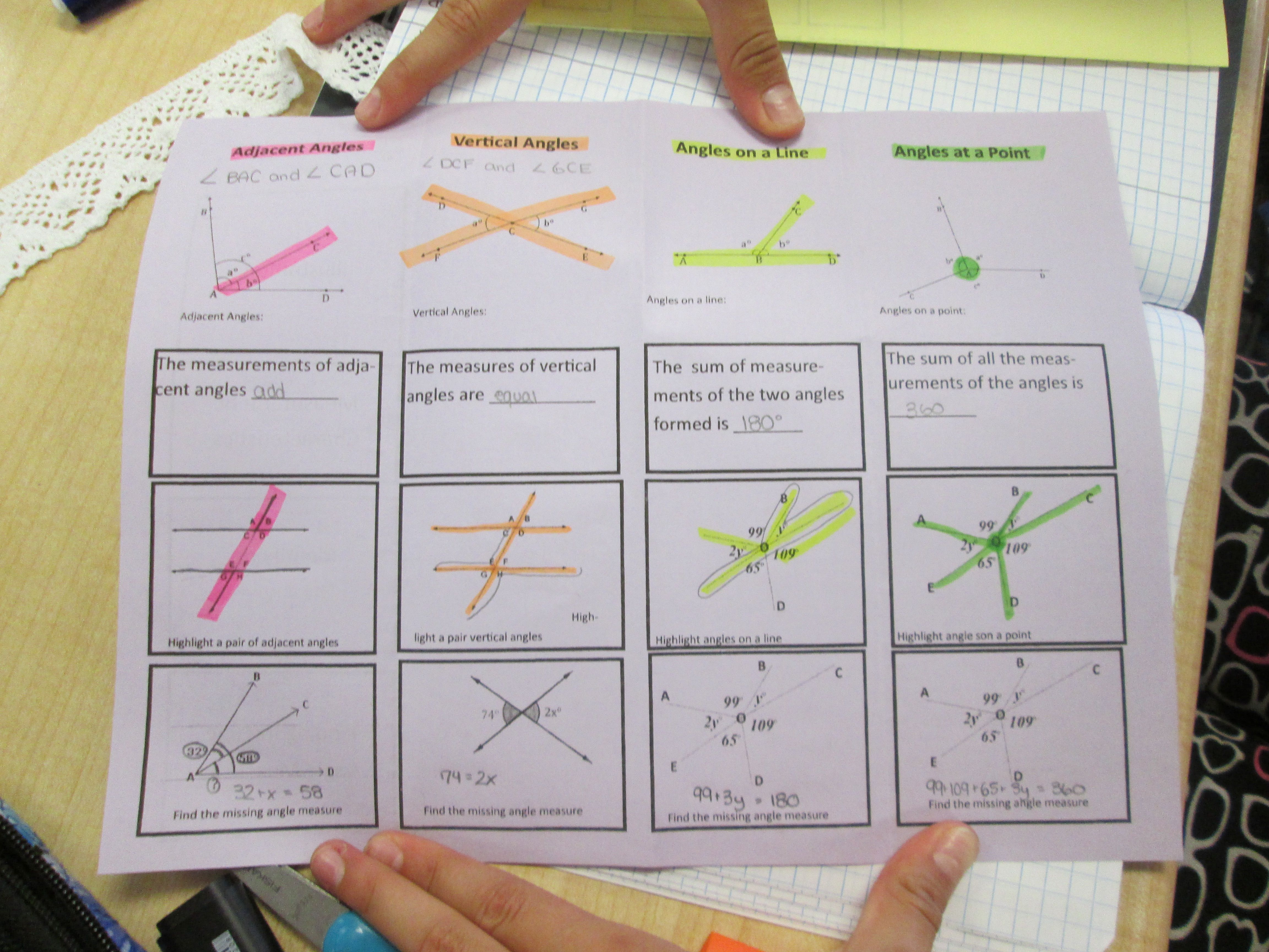 Adjacent And Vertical Angles Foldable