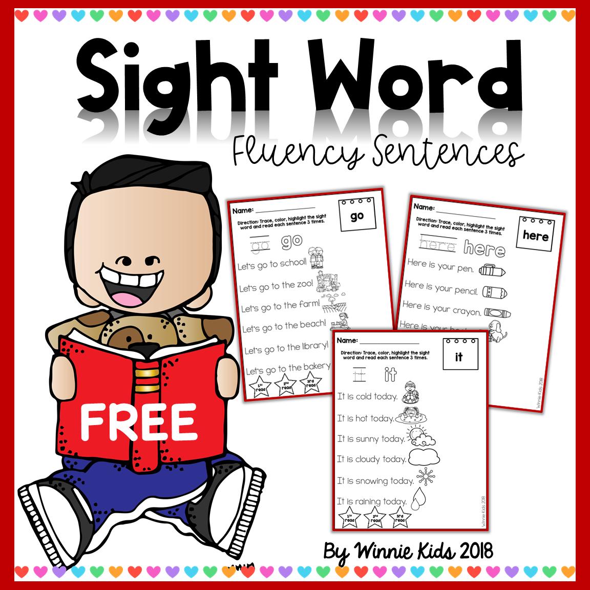 Free Sight Word Fluency Sentences