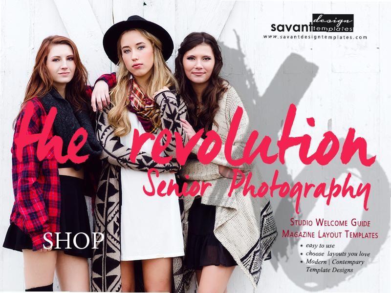 Senior photography magazine studio guide page layout templates