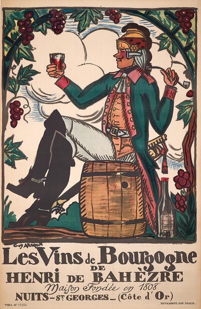 1925 Le vins Du Bourgogne vintage advert poster