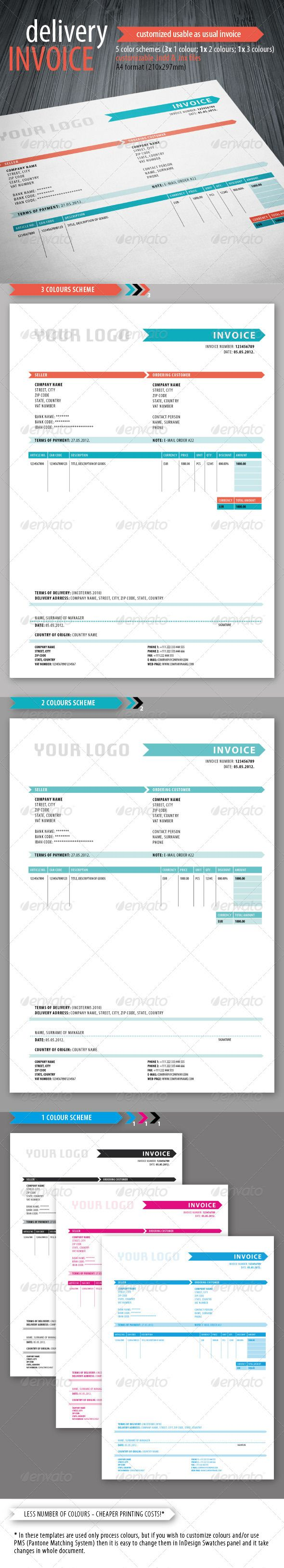 Delivery Invoice Template  Template Indesign Templates And