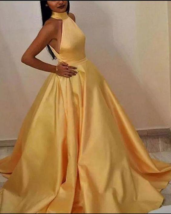Elegante Halfter eine Linie Satin sonnig gelb Abendkleid lange Frauen Prom Party   – Baile