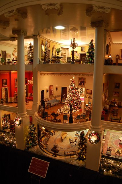 White House Christmas ------ (jt-love that miniature Christmas tree centre stage, would like closer look) #miniaturerooms