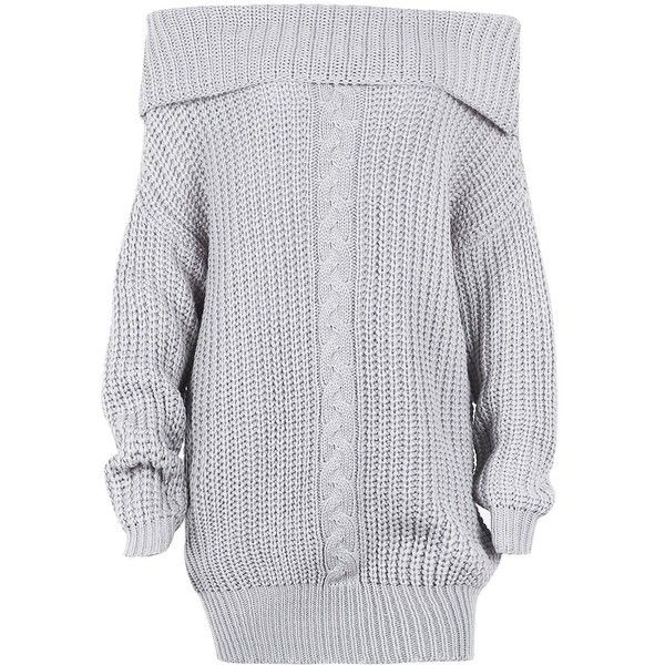 Glamaker Women s Pullover Loose Sweater Dress Short Off Shoulder Knit...  ( 31) ❤ liked on Polyvore featuring tops f9d11096d