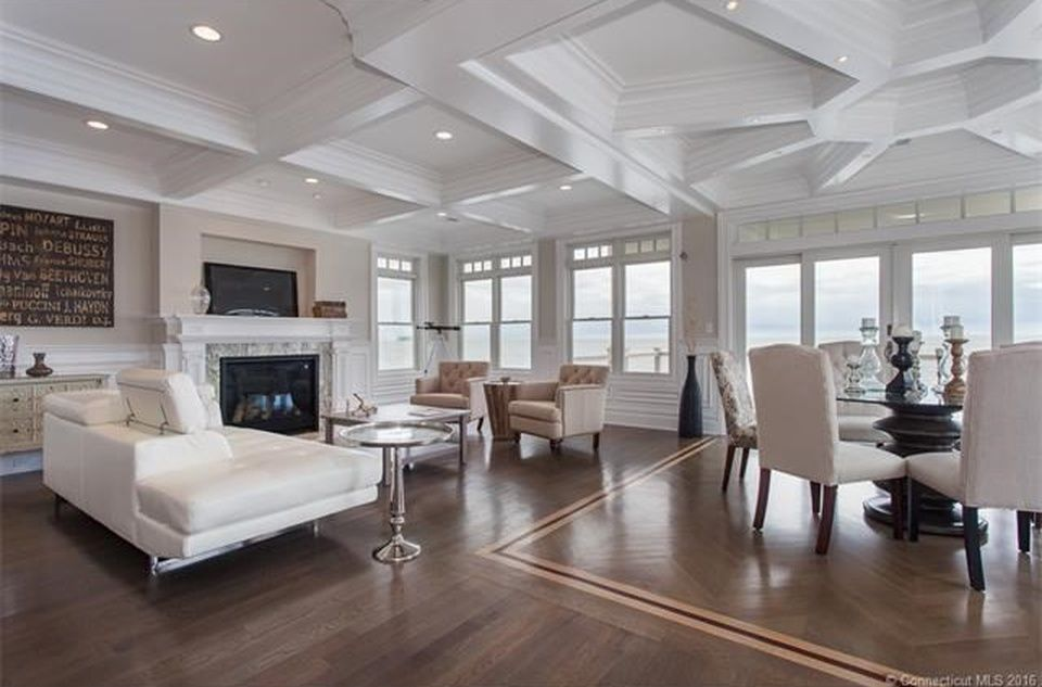 Coffered Ceiling White Walls Medium Dark Wood Floors Dark Wood