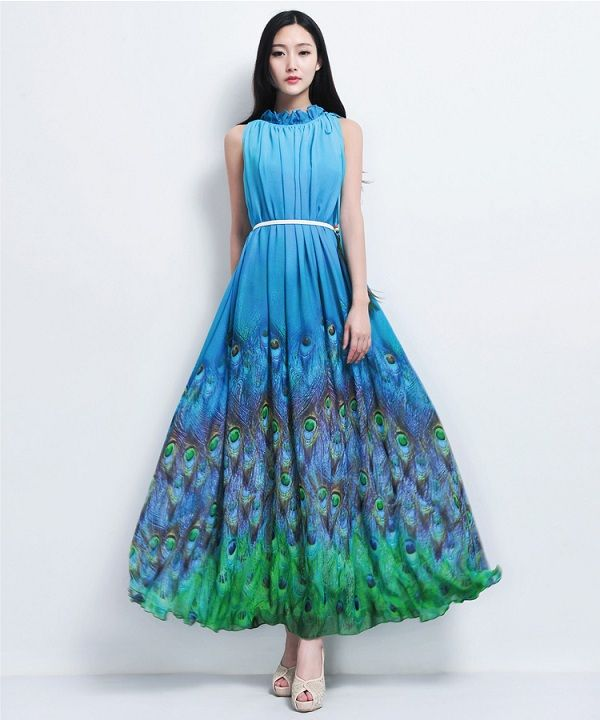 2013 new design formall dress peacock printed chiffon maxi dress