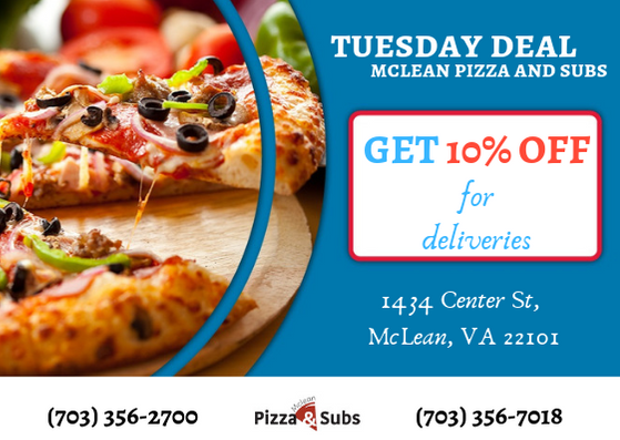 Tuesday Deals For Pizza At Mclean Pizza Restaurant Tell Us