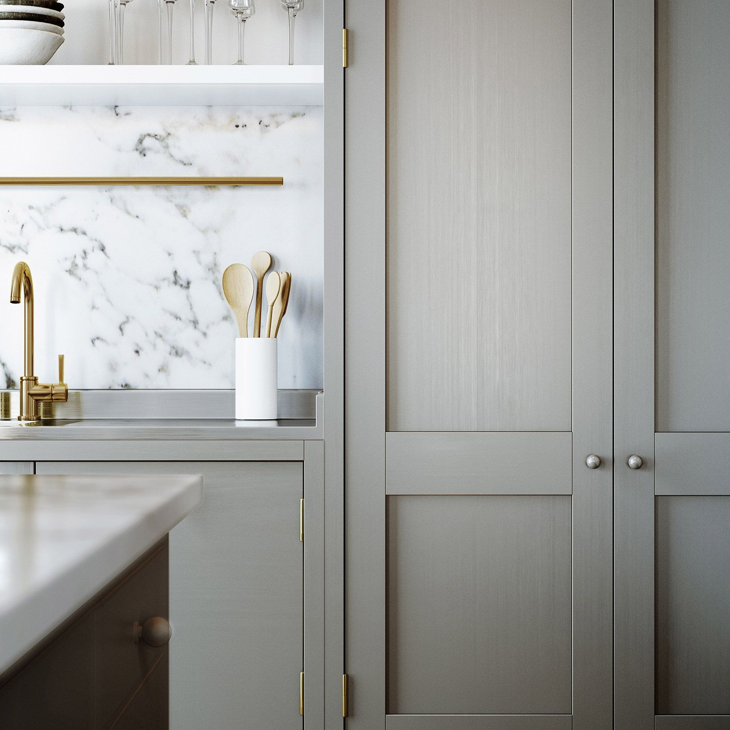 Details Shaker Style Cabinets With Carrara Accents