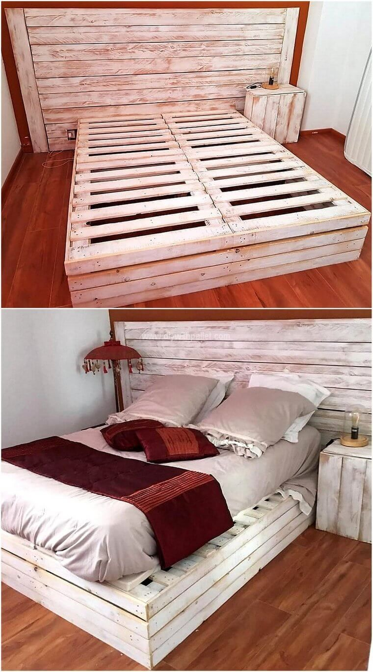 Bed Frames For Positioning Mattress And Floor Base In 2020 Pallet Bed Frame Diy Bed Frame Design Diy Pallet Bed