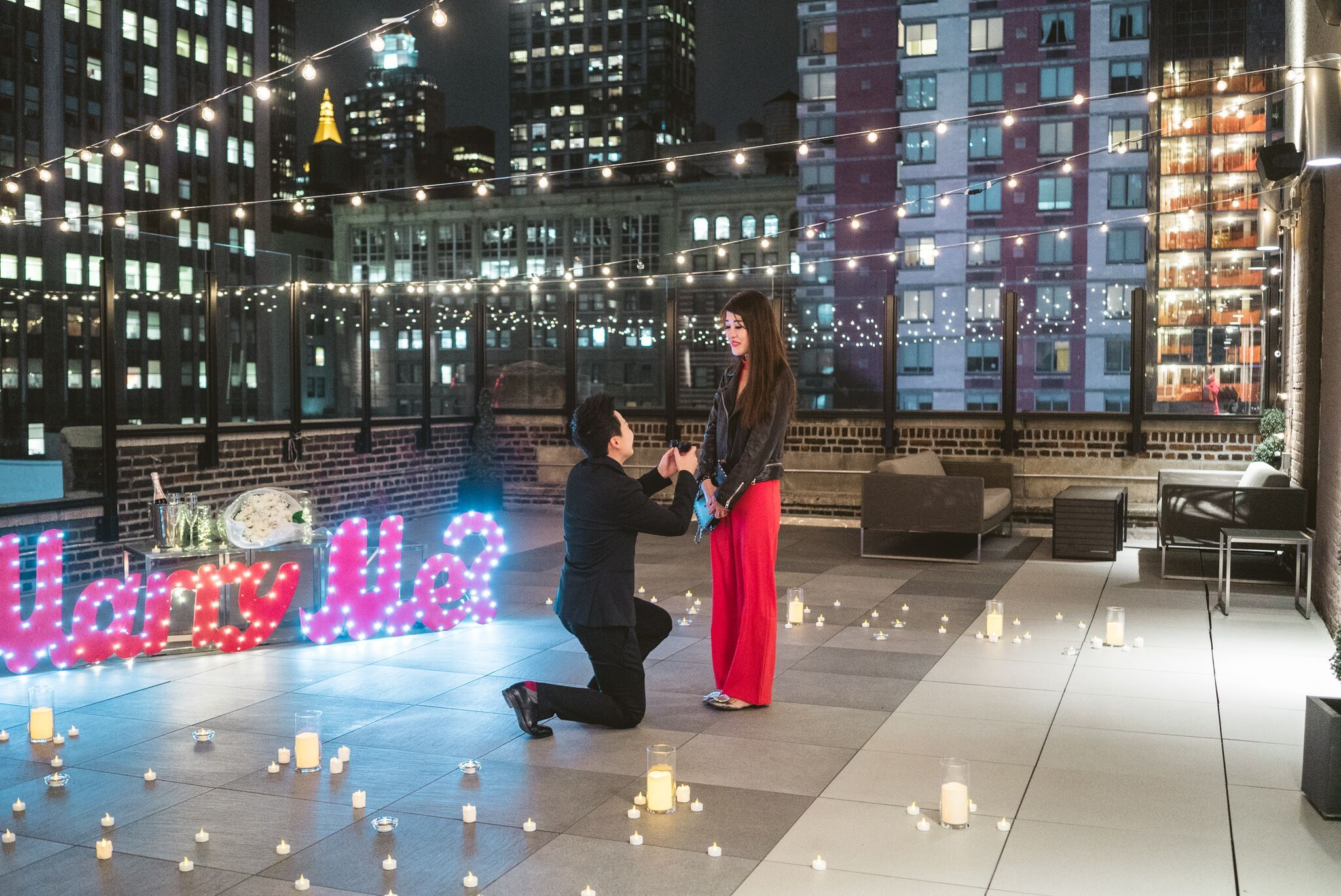 Private rooftop marriage proposal  #nyc #marriageproposal #ido #engagementphotography #savethedate #rooftopproposal