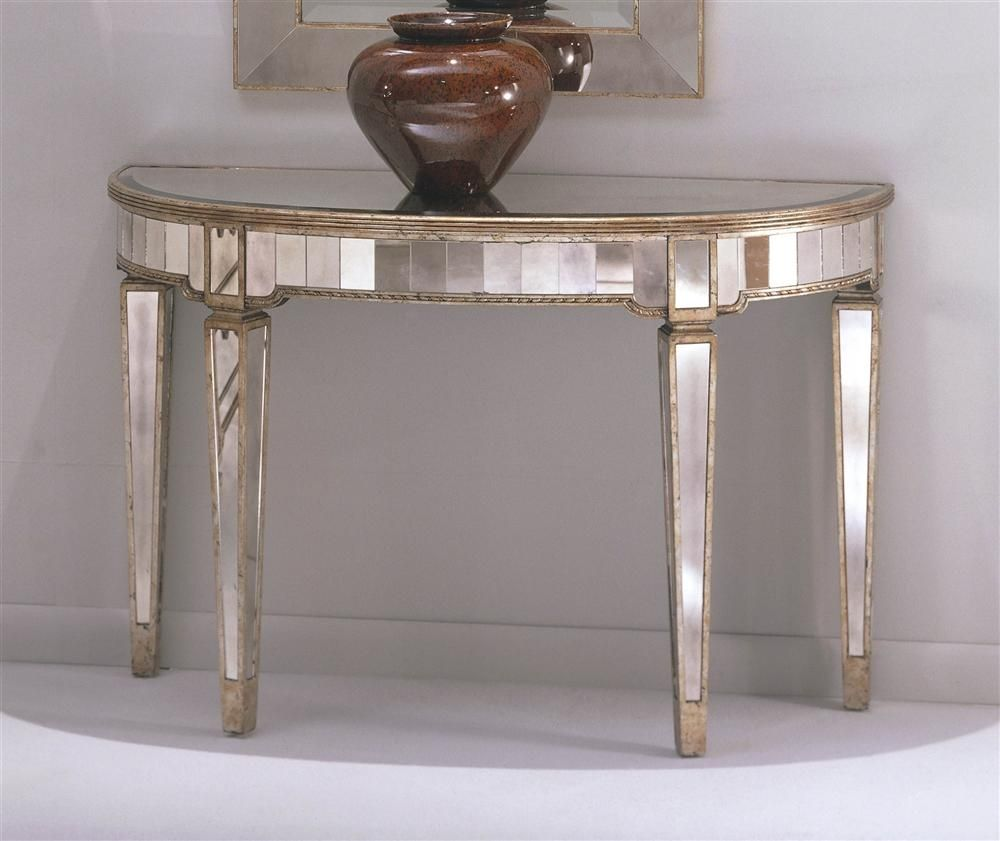 Half Circle Console Table W Mirrored Accents Tapered Legs