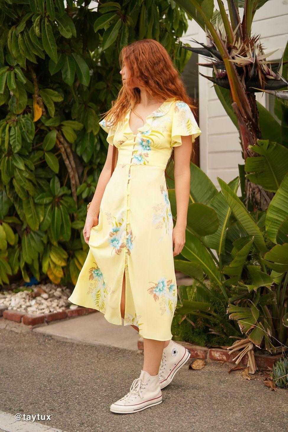 25b83fcfe UO Heart Melter Button-Front Ruffle Midi Dress in 2019 | Dresses | Dresses,  Urban dresses, Fashion