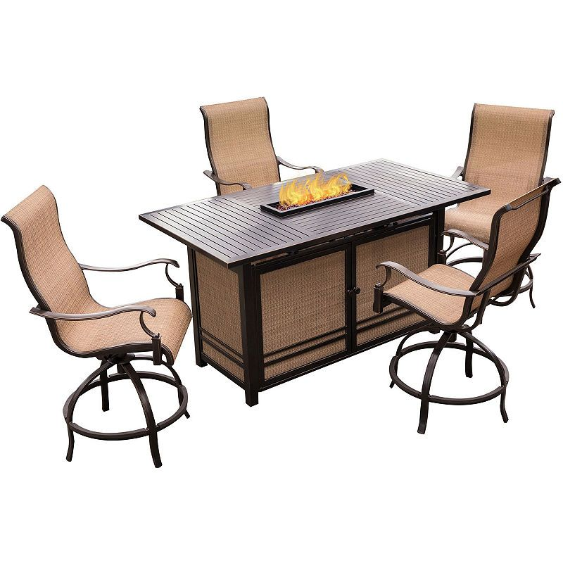 Hanover Monaco 5 Pc Patio Dining Set Fire Pit Table Dining Set