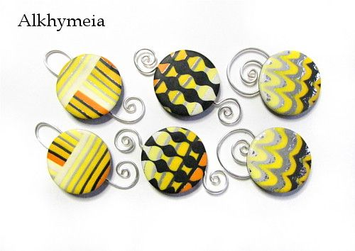 Tutorial Yellow Circles, a polymer clay and wirework tutorial by Alkhymeia