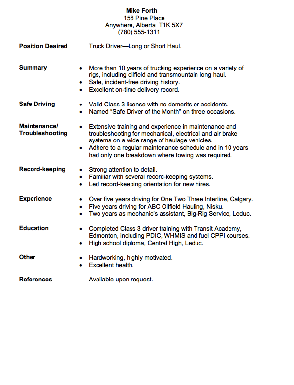 Driver Resume Long Haul Truck Driver Resume Example  Httpresumesdesign