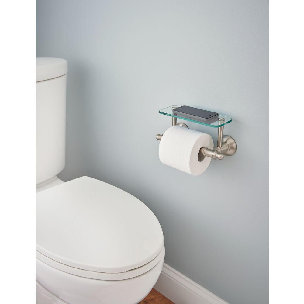 Delta Toilet Paper Holder With Glass Shelf In Brushed Nickel