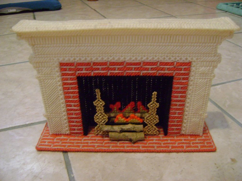 Barbie Plastic Canvas Fireplace Handmade Furniture Barbie Doll Size Barbie Home And Plastic