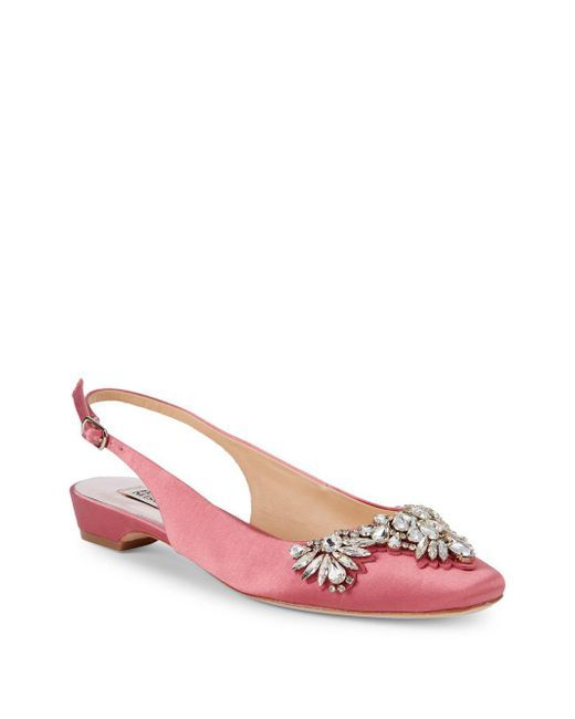 8d841666dd6 Badgley Mischka Shayla Bejeweled Slingbacks in Pink - Lyst