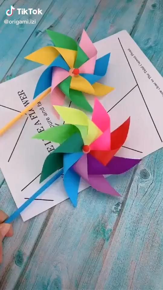 Photo of Origami video. Easy. Beautiful colorful windmill. . .