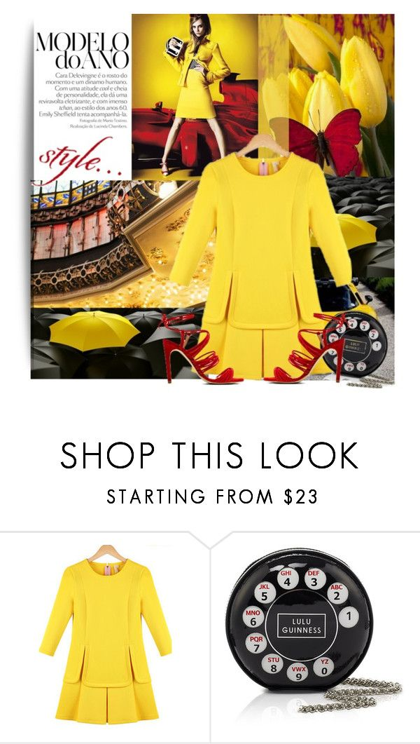 """""""HIiiiiii everyone!"""" by lavendergal ❤ liked on Polyvore featuring Lulu Guinness and The Mode Collective"""