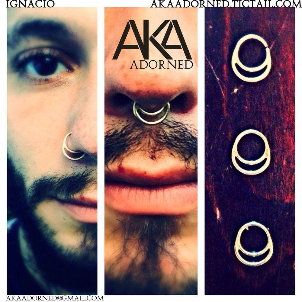 Double nose piercing plus septum  IGNACIO nostril and septum ring GOLD  Body Art u Adornments