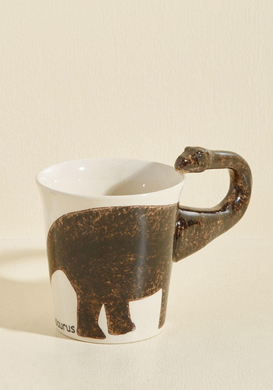 Making Prehistory Mug in Brontosaurus - Brown, Tan / Cream, Solid, Daytime Party, Dorm Decor, Quirky, Critters, Spring, Summer, Fall, Winter, Guys, Critter Gifts, Unisex Gifts, Under 25 Gifts, Unique Gifts