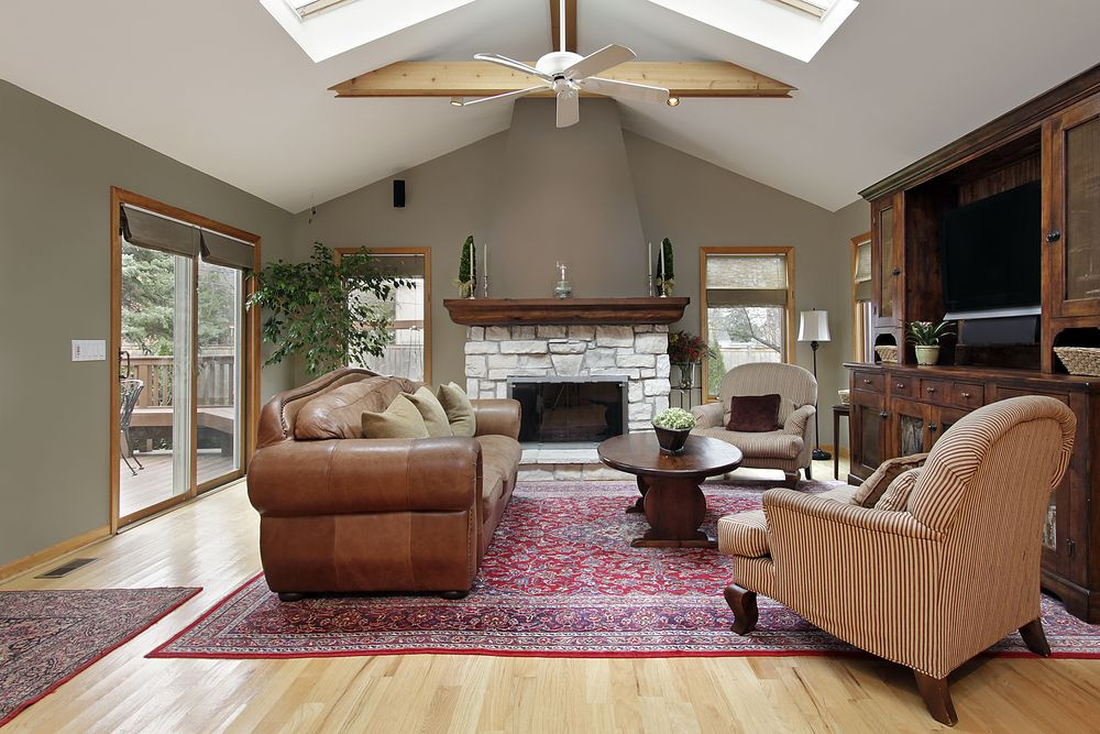 54 living rooms with soaring 2 story cathedral ceilings on best laundry room paint color ideas with wood trim id=86933