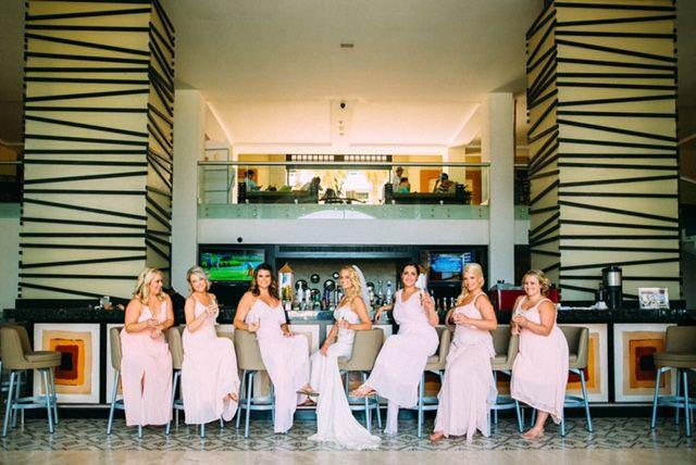 Mismatched blush pink bridesmaids dresses