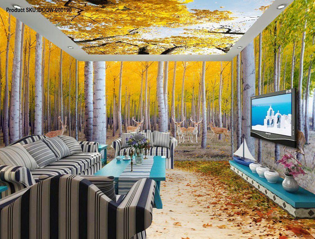 3D Yellow Poplar Forest Entire Living Room Wallpaper Wall Mural Art ...