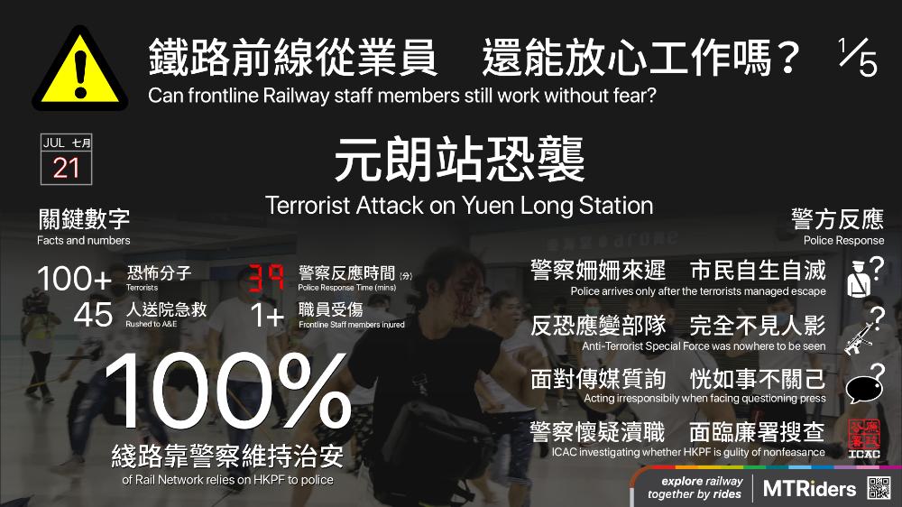 風雨飄搖鐵路前線從業員還能放心工作嗎 近來社會氣氛繃緊 矛盾不斷增加 暴力頓成常態 衝突一旦發生 第一班首當其衝的人 莫過於各交通運輸機構的前線從業員 作為撐起香港交通運輸系統的重要部分 究竟鐵路的前線同事的人身安 With Images Information