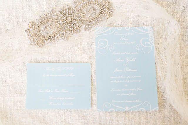 Love This Light Blue Wedding Invitation Set Vintage Pastel Via Burnettsboards Pics