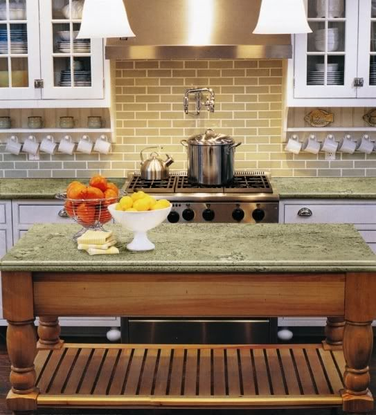 Jurassic Green Granite With Simple Subway Tiles