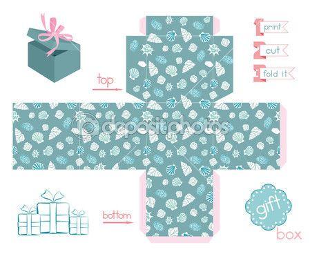 stampabile regalo scatola di conchiglie varie — Illustrazione Stock #52490641