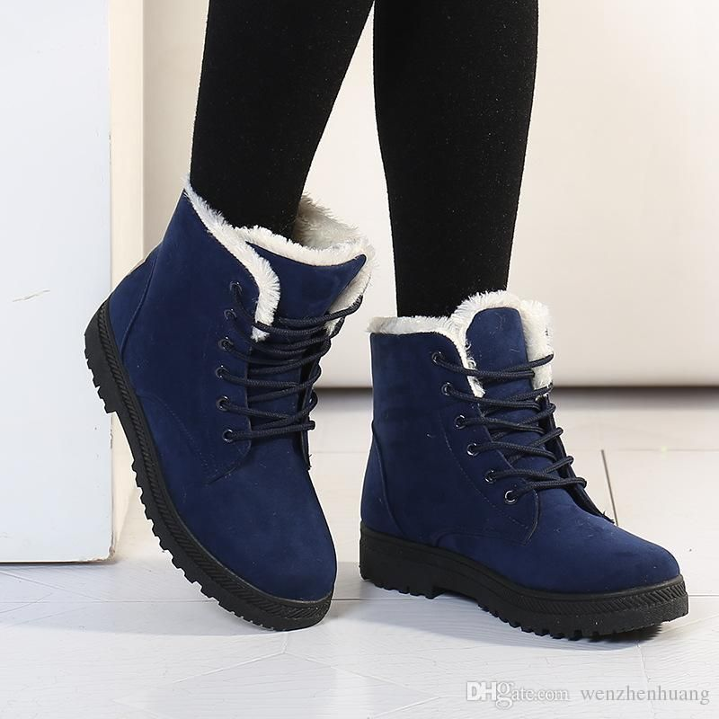Women's Fashion Casual Lace Up Platform Flat Mid Calf Plus Velvet Snow Boots