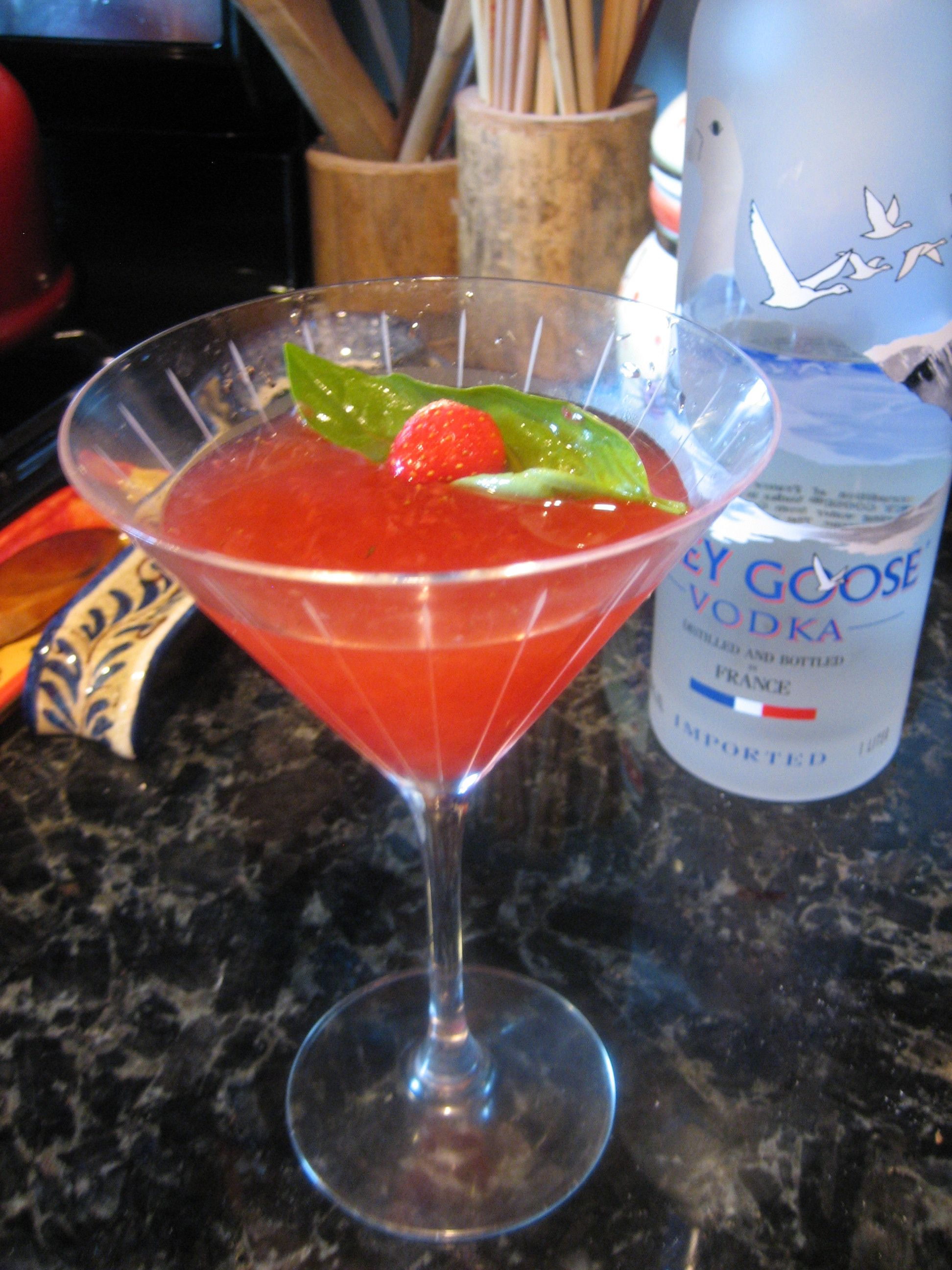 Strawberry Basil Martini: Muddle 5 strawberries, 1 basil leaf, and 2 tsp sugar. Allow to sit for at least 5 minutes. Add 1oz vodka and handful of ice. Shake. Strain into a martini glass and garnish with additional basil leaves.
